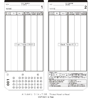 A11P300-399 B Time Cards - Blue