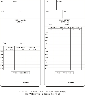 ATR121 Time Cards (09-9110-000 - 250 Pack)